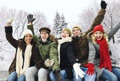 друзья собирают счастливую внешнюю зиму Стоковое Изображение RF