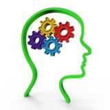 Думайте что мозг представляет принимая во внимание думать и около Стоковое Фото