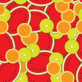 Дыни безшовного шаблона предпосылки цветастые, киви, апельсины Стоковое фото RF
