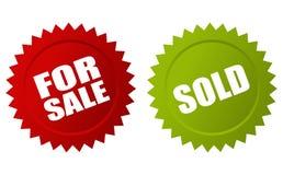 Для продажи и проданные стикеры Стоковая Фотография RF