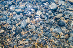 水下小卵石的纹理 免版税库存照片