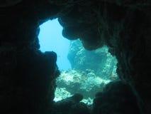 水下洞穴的漏洞 免版税库存照片