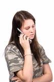 购买权关心的电话少年 免版税库存照片