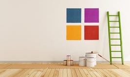 围住的颜色油漆精选的样片 免版税库存图片