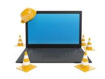 维修服务和膝上型计算机的保护 免版税库存照片