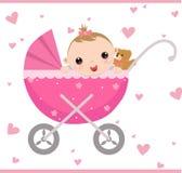 婴儿车女孩开会 免版税库存照片