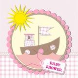 婴儿送礼会scrapbooking的卡片设计。 例证 免版税库存图片