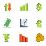 财务图标被设置的向量 库存照片