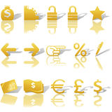 财务图标货币定位集合网站 免版税库存照片