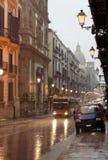 巴勒莫下雨街道 免版税库存照片