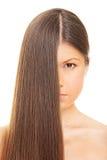头发健康长的妇女 库存照片