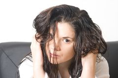 头发湿妇女 免版税库存照片