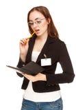 戴在白色查出的眼镜的女实业家 免版税库存照片