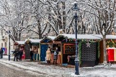 巴塞尔圣诞节市场 库存图片