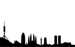 巴塞罗那剪影地平线 免版税图库摄影