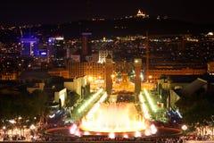 巴塞罗那喷泉魔术西班牙 免版税库存图片