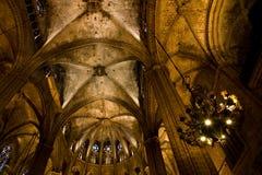 巴塞罗那大教堂内部 免版税库存照片
