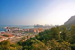 巴塞罗那端口视图 库存照片