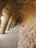 巴塞罗那设计了gaudi guell公园 免版税库存图片