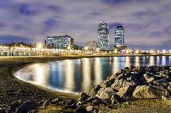 巴塞罗那,西班牙海岸线  免版税图库摄影