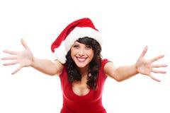 兴奋女孩圣诞老人 库存照片