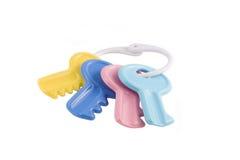 婴孩五颜六色的查出的关键玩具 库存图片