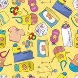 婴孩动画片模式无缝的事情 免版税库存照片