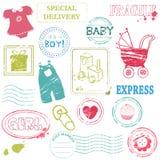 婴孩向量集邮 免版税库存图片