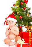 婴孩圣诞老人 免版税图库摄影
