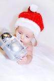 婴孩圣诞节靛蓝存在 库存图片