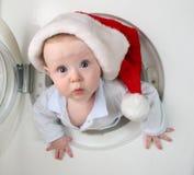 婴孩圣诞节洗衣机 免版税库存图片