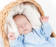 婴孩接近的新出生的纵向休眠  免版税库存图片