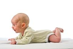 婴孩接近面朝上 库存照片