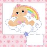 婴孩明信片的逗人喜爱的模板 免版税图库摄影