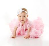 婴孩爬行的女孩pettiskirt芭蕾舞短裙佩带 库存图片