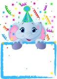 婴孩生日大象 免版税库存图片