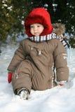 婴孩第一个冬天 免版税库存照片