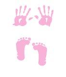 婴孩脚印女孩handprint 免版税库存照片