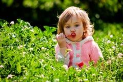 婴孩草使用 免版税库存图片