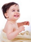 婴孩逗人喜爱微笑 库存图片