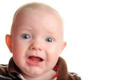 婴孩逗人喜爱惊奇的不快乐 免版税库存照片