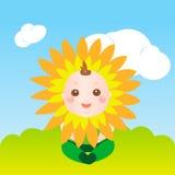 婴孩逗人喜爱的向日葵 免版税图库摄影