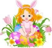 婴孩逗人喜爱的复活节女孩 库存图片