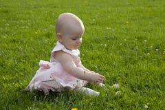 婴孩逗人喜爱的女孩草 免版税库存图片