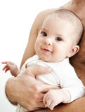 婴孩逗人喜爱的父亲膝部s 库存图片