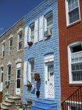 巴尔的摩五颜六色的房子城镇 库存照片