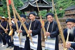 贵州hmong lusheng音乐家执行 库存图片