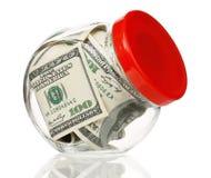 货币瓶子 免版税库存图片