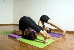 水平的人实践的女子瑜伽 免版税库存照片