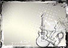 水平背景的吉他弹奏者 库存照片
